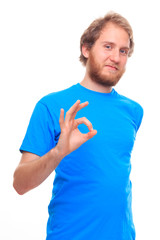 Bearded man shows OK sign