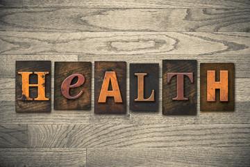 Health Concept Wooden Letterpress Type