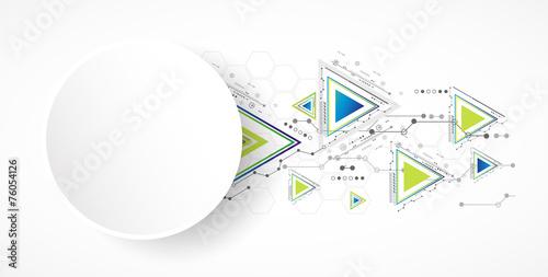Deurstickers Geometrische dieren Abstract technology triangle background.