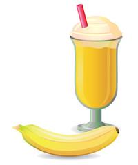 Banana shake with straw vector