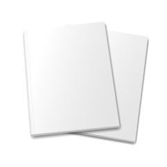 collection of various  blank  books on white background