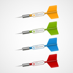 3d realistic concept infographic template target with darts.