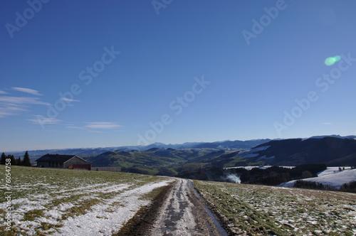 canvas print picture Weg im winterlichen Alpenvorland