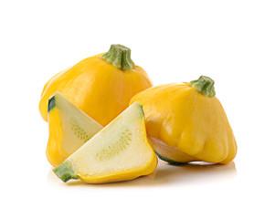 Yellow zucchini squash isolated on white background