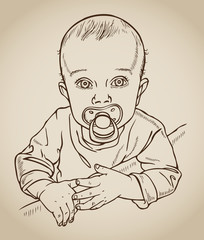 baby with a soother drawing