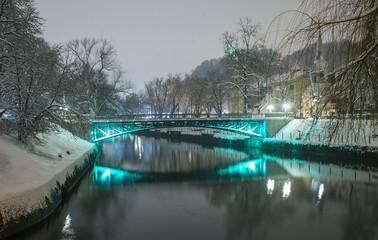 Ljubljanica river in snow, Ljubljana, Slovenia