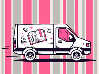 Vector illustration of van free and fast delivering open book to