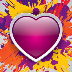 Pink heart, paint color explosion, bright image, valentines day