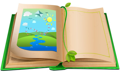 Open book with an illustration of the landscape.