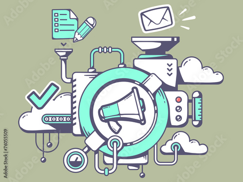 Vector illustration of mechanism with megaphone and office icons - 76055509