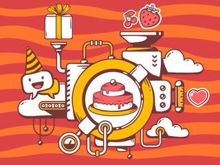 Vector illustration of mechanism to cook cake and relevant icons