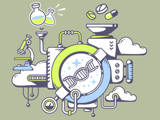 Vector illustration of mechanism to study  dna molecule chain an