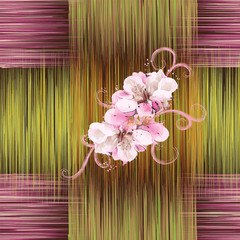 Seamless pattern with abstract flowers on striped background
