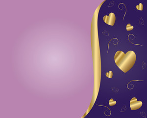 Valentine Vector-Purple & Gold Background