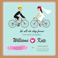 Bicycle lover couples wedding invitation