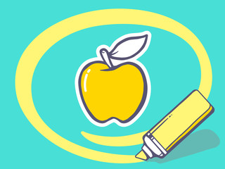 Vector illustration of marker drawing circle around apple on blu