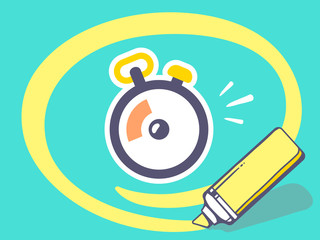 Vector illustration of marker drawing circle around stopwatch on