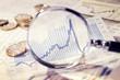 Leinwanddruck Bild - Lupe zeigt die Entwicklung des Marktes