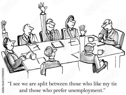Leinwandbild Motiv Business Boss Jokes A Bit Too Much