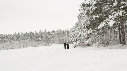 Man with an older woman walking down the a snowy road