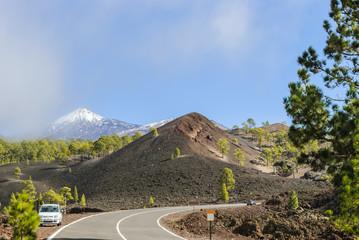 Snow on volcanic island