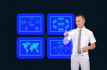 businessman pushing virtual screen