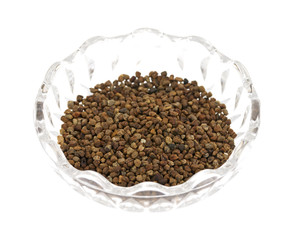 Cardamon Seeds In A Glass Bowl Side View