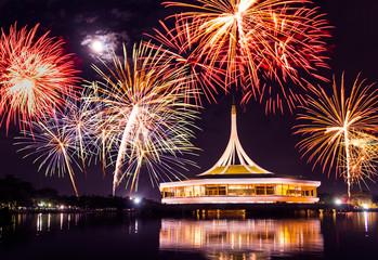fireworks on rama nine park, thailand