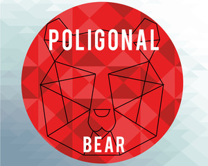 poligonal bear illustration over geometric  texture background