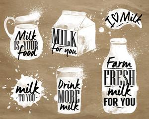 Milk symbolic drawing kraft