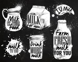 Milk symbolic drawing chalk