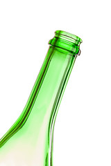 The neck of an empty bottle at an angle