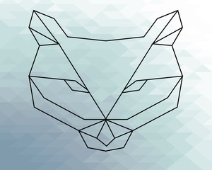 poligonal fox illustration over geometric texture background