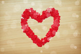 Love heart made with heart-shaped confetti
