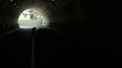 group of people in silhouette through tunnel