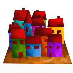 drawing with colorful houses