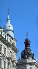 Two decorative turrets