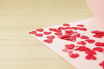 Valentine's  day card with small hearts