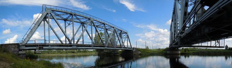 Panoramic view of two railway bridges
