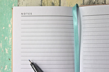 Blank diary page with pen.