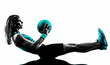 canvas print picture - woman fitness Medicine Ball exercises silhouette