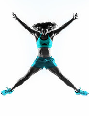 woman fitness jumping  stretching exercises silhouette