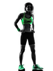 woman fitness exercises standing silhouette