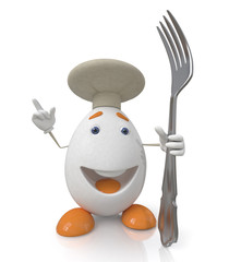 egg the cook with a fork