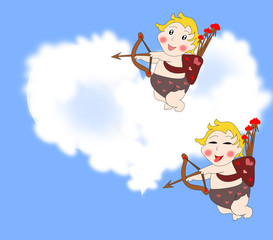 Naughty funny cupids arrows in the sky with clouds in the shape