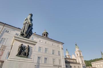 Mozart statue on Mozart Square (Mozartplatz) at Salzburg, Austri