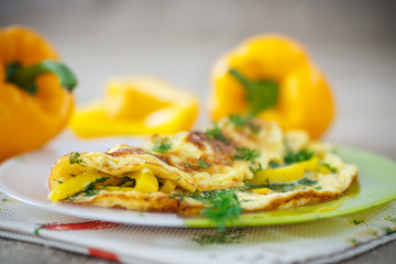 delicious omelet with peppers and herbs
