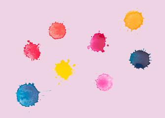Watercolor splash, splashes, vector
