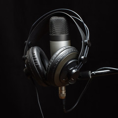 Headphones and condenser microphone isolated
