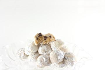 Homemade Chocolate Chip And Walnut Snowballl Cookies